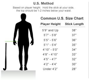Field Hockey Stick Size Chart
